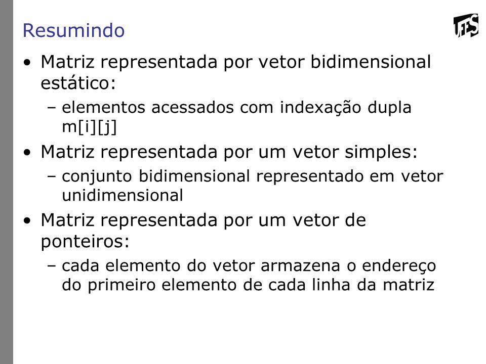 Resumindo Matriz representada por vetor bidimensional estático: