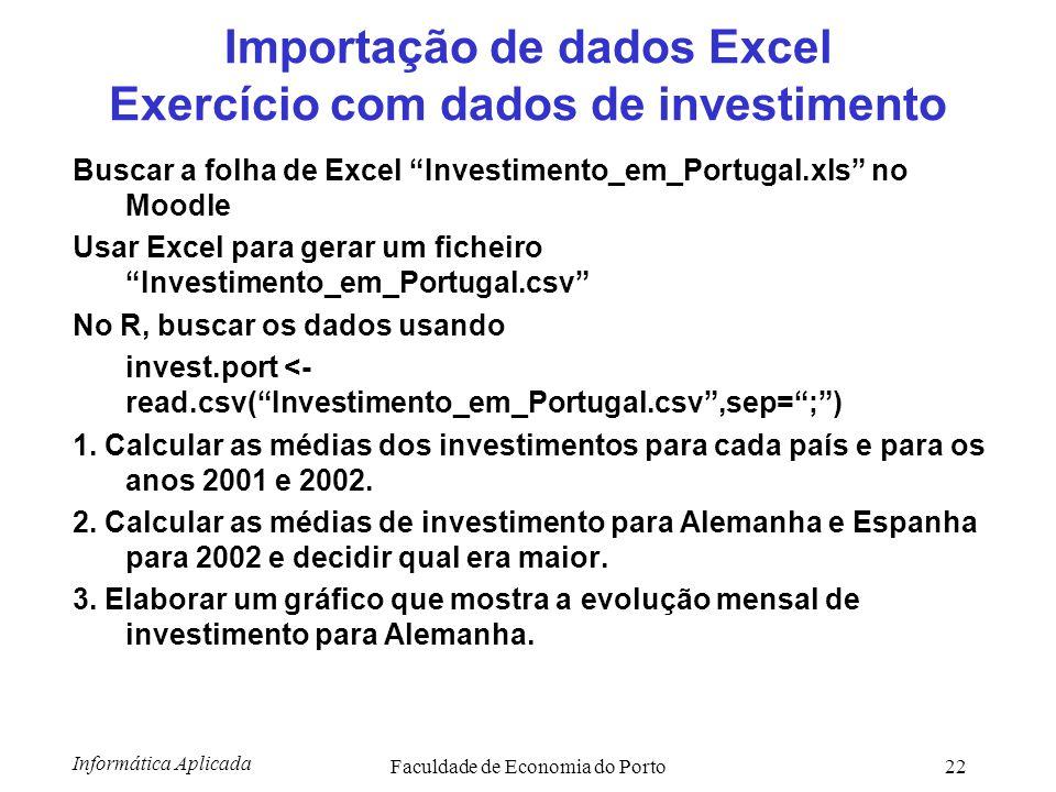 Importação de dados Excel Exercício com dados de investimento