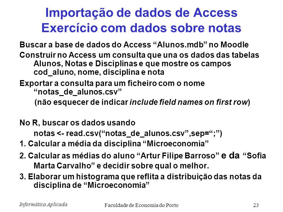 Importação de dados de Access Exercício com dados sobre notas