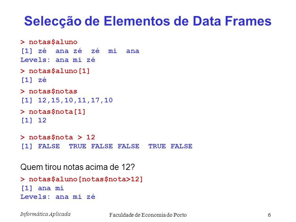 Selecção de Elementos de Data Frames