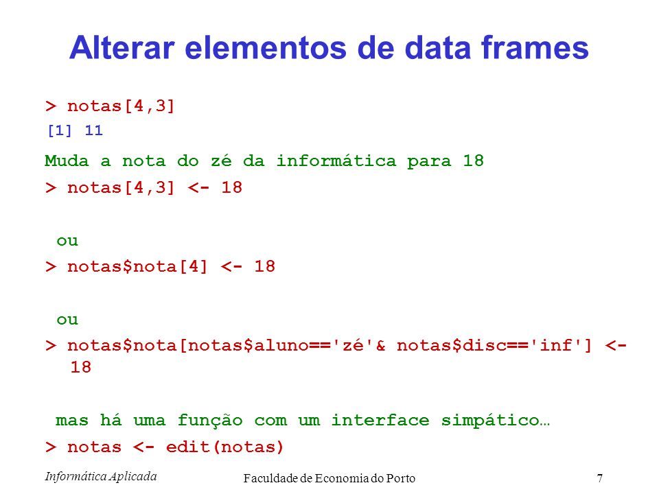 Alterar elementos de data frames