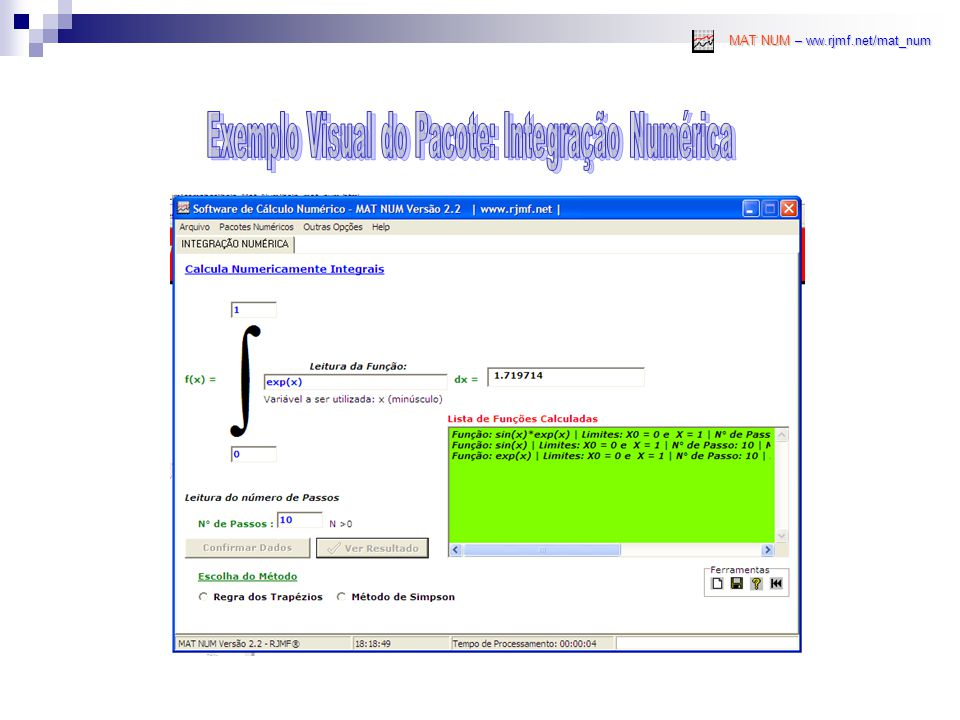 Exemplo Visual do Pacote: Integração Numérica