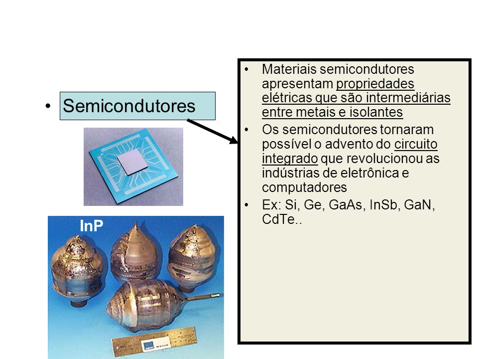 Materiais semicondutores apresentam propriedades elétricas que são intermediárias entre metais e isolantes