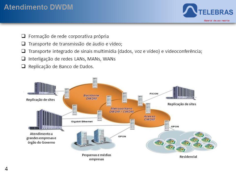 Atendimento DWDM Formação de rede corporativa própria