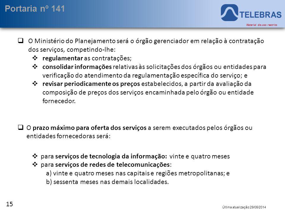 Portaria nº 141 O Ministério do Planejamento será o órgão gerenciador em relação à contratação dos serviços, competindo-lhe: