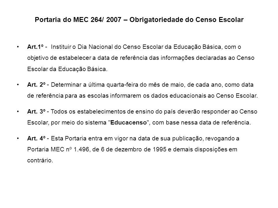 Portaria do MEC 264/ 2007 – Obrigatoriedade do Censo Escolar
