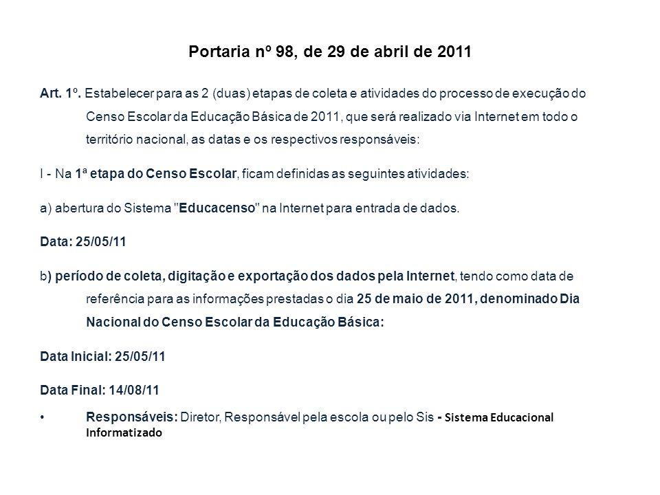 Portaria nº 98, de 29 de abril de 2011