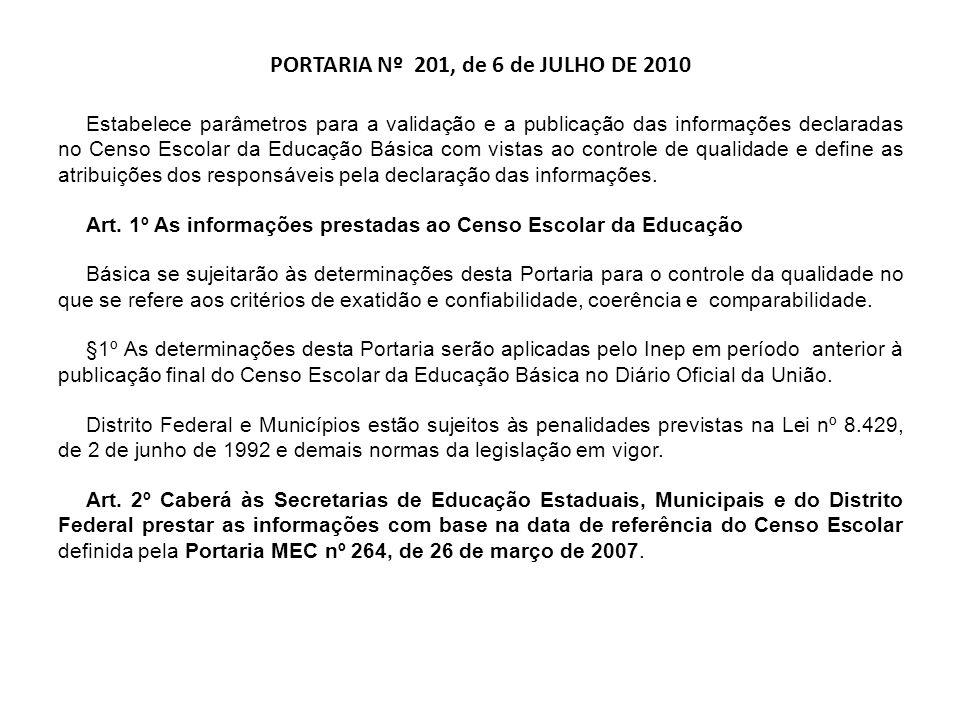 PORTARIA Nº 201, de 6 de JULHO DE 2010