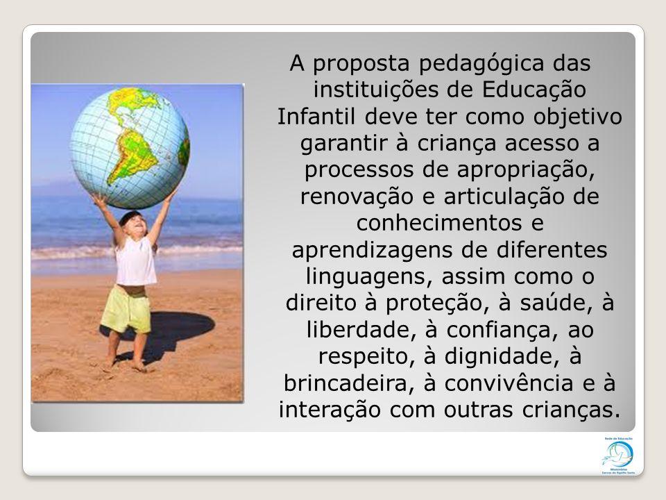 A proposta pedagógica das instituições de Educação Infantil deve ter como objetivo garantir à criança acesso a processos de apropriação, renovação e articulação de conhecimentos e aprendizagens de diferentes linguagens, assim como o direito à proteção, à saúde, à liberdade, à confiança, ao respeito, à dignidade, à brincadeira, à convivência e à interação com outras crianças.