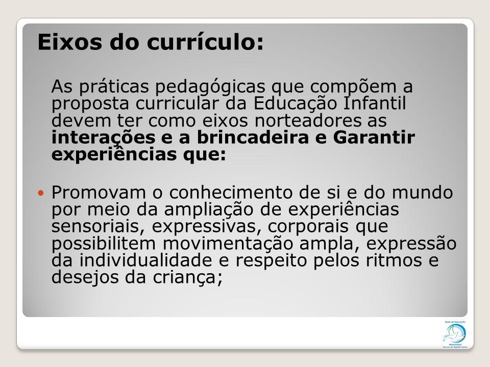 Eixos do currículo: