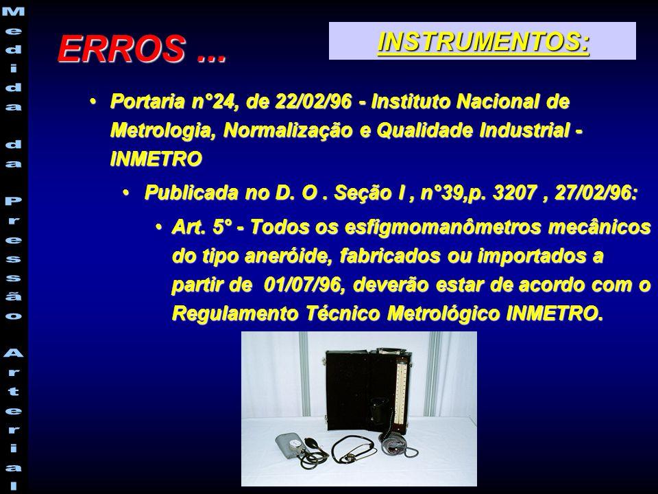 ERROS ... INSTRUMENTOS: Portaria n°24, de 22/02/96 - Instituto Nacional de Metrologia, Normalização e Qualidade Industrial - INMETRO.