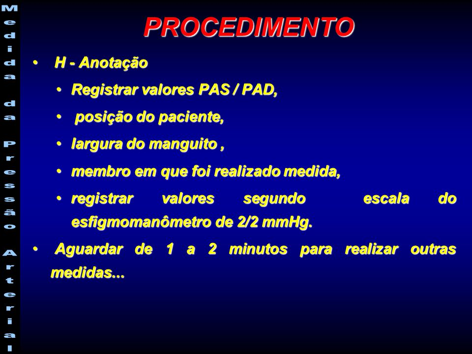 PROCEDIMENTO H - Anotação Registrar valores PAS / PAD,