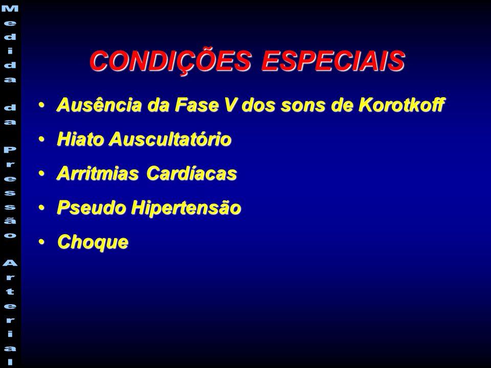 CONDIÇÕES ESPECIAIS Ausência da Fase V dos sons de Korotkoff