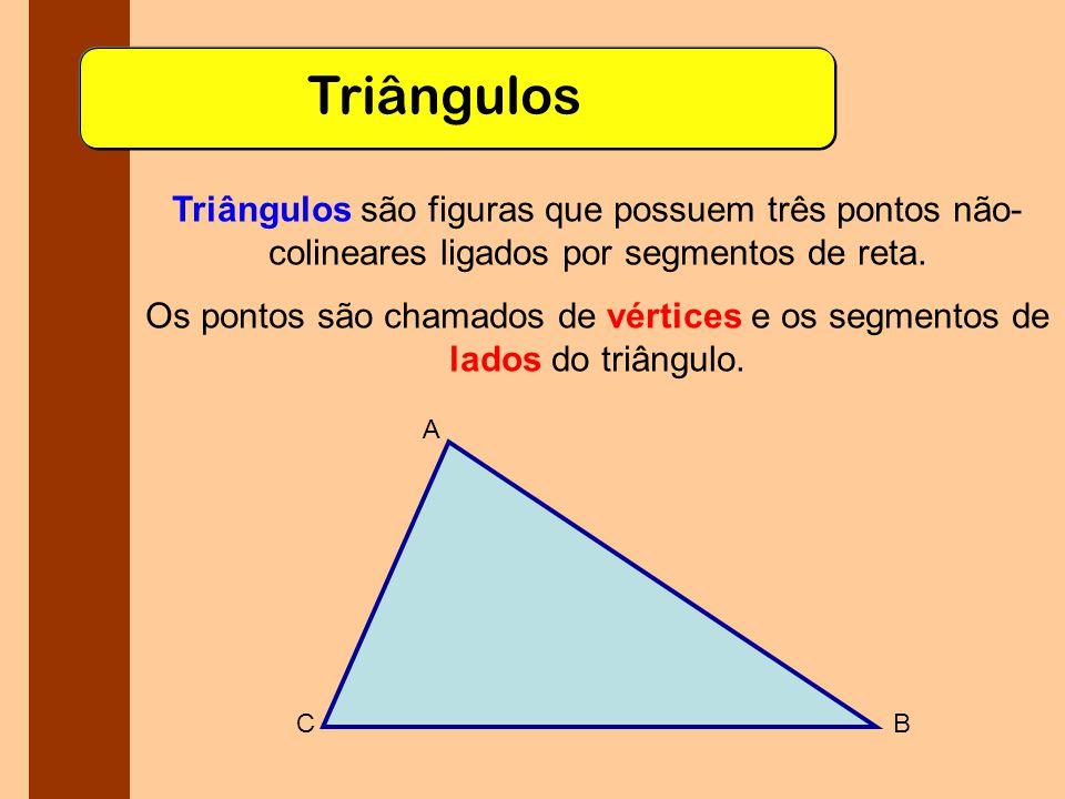 Triângulos Triângulos são figuras que possuem três pontos não-colineares ligados por segmentos de reta.