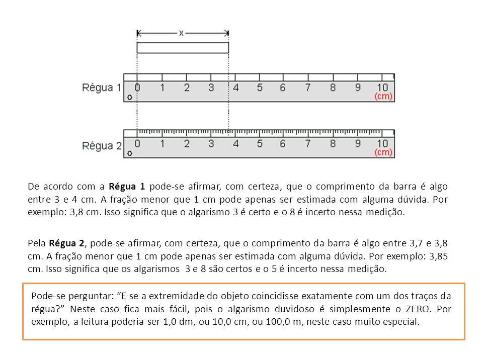 De acordo com a Régua 1 pode-se afirmar, com certeza, que o comprimento da barra é algo entre 3 e 4 cm. A fração menor que 1 cm pode apenas ser estimada com alguma dúvida. Por exemplo: 3,8 cm. Isso significa que o algarismo 3 é certo e o 8 é incerto nessa medição.