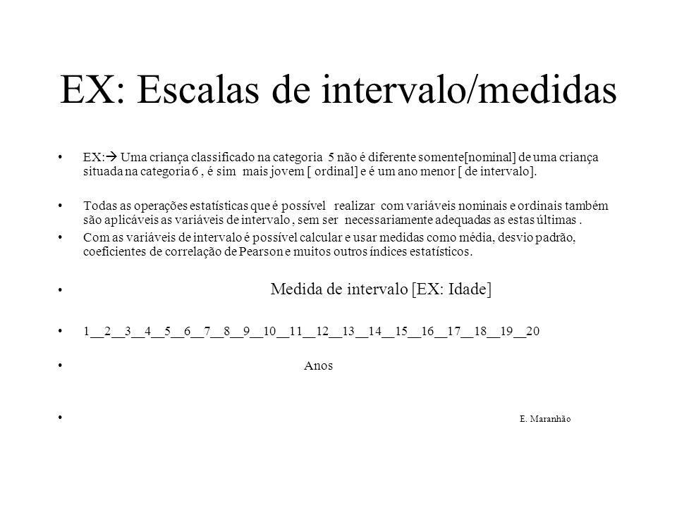 EX: Escalas de intervalo/medidas