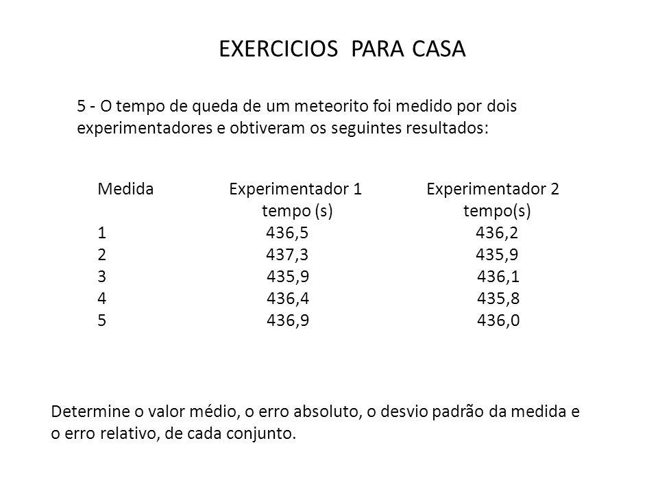 EXERCICIOS PARA CASA 5 - O tempo de queda de um meteorito foi medido por dois experimentadores e obtiveram os seguintes resultados: