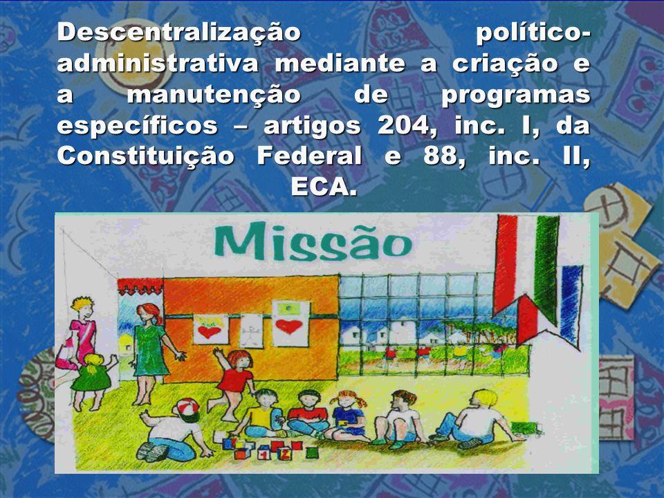 Descentralização político-administrativa mediante a criação e a manutenção de programas específicos – artigos 204, inc.