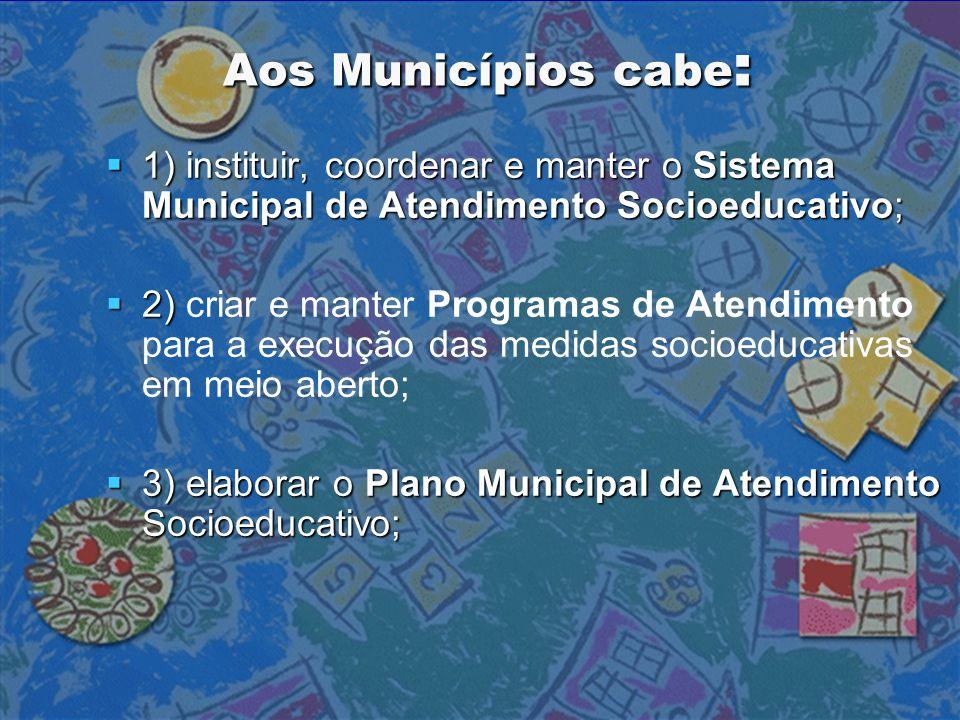 Aos Municípios cabe: 1) instituir, coordenar e manter o Sistema Municipal de Atendimento Socioeducativo;