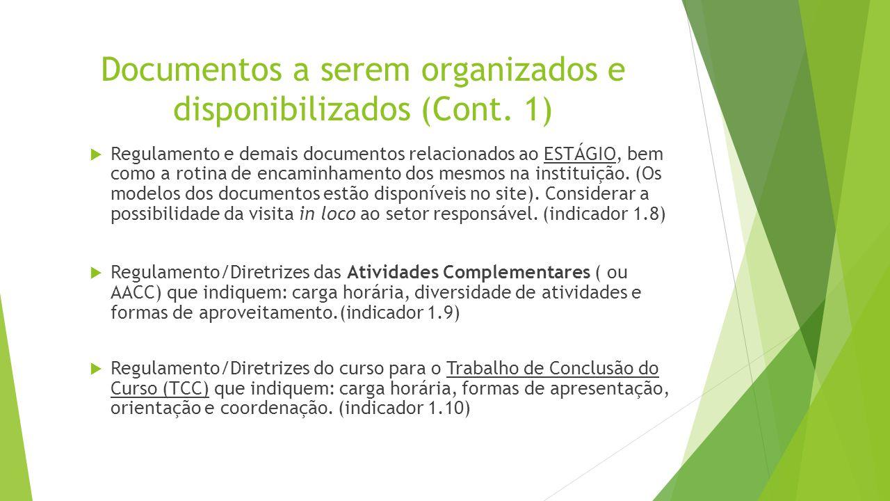 Documentos a serem organizados e disponibilizados (Cont. 1)