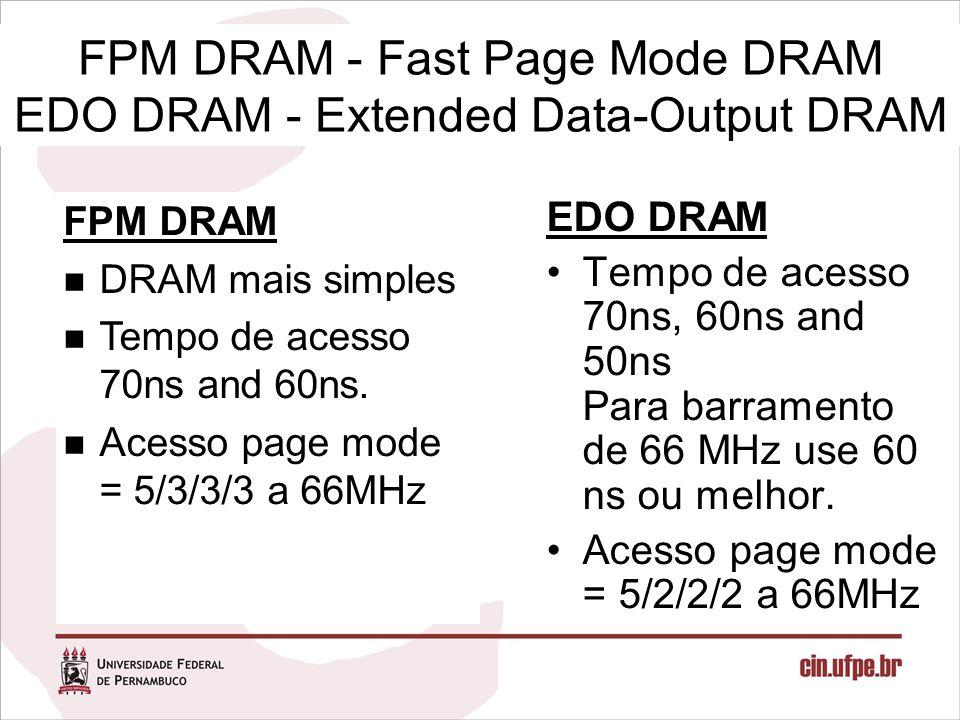 FPM DRAM - Fast Page Mode DRAM EDO DRAM - Extended Data-Output DRAM
