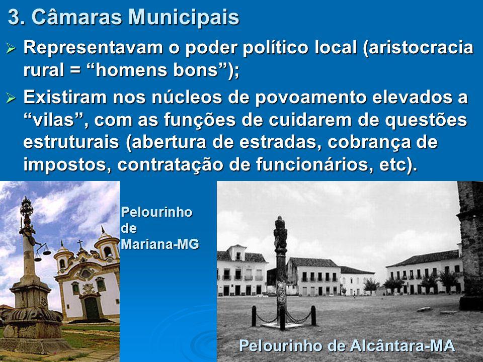 3. Câmaras Municipais Representavam o poder político local (aristocracia rural = homens bons );