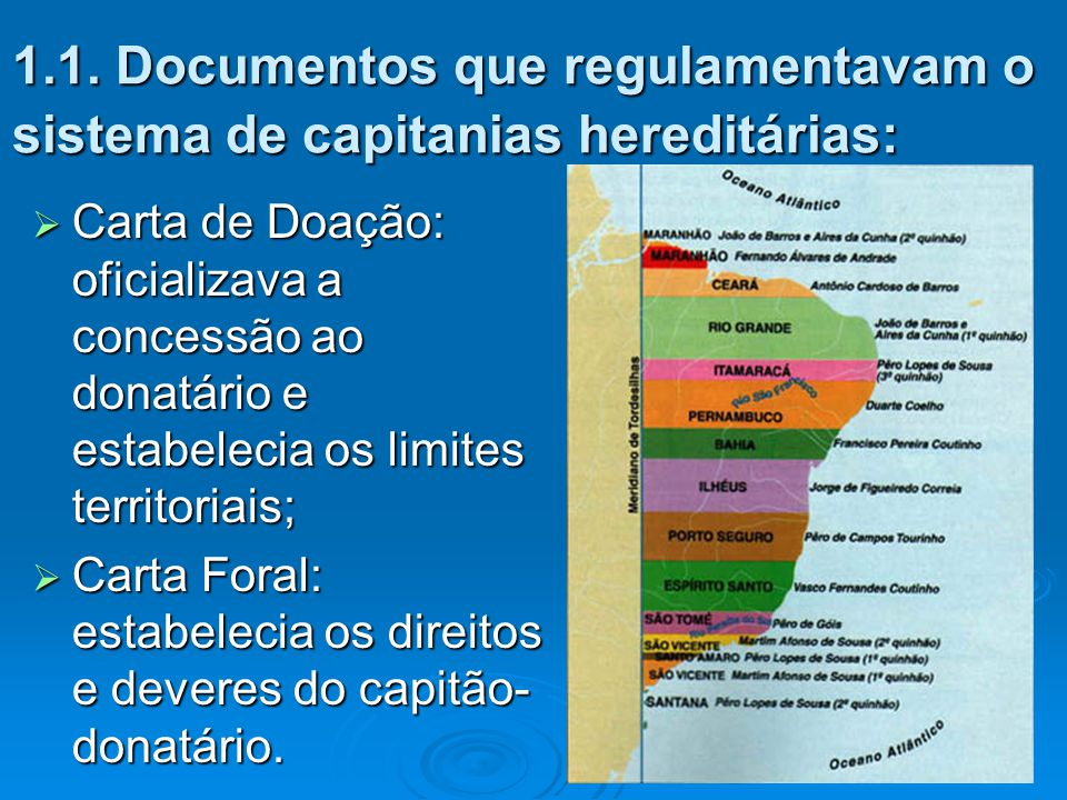 1.1. Documentos que regulamentavam o sistema de capitanias hereditárias: