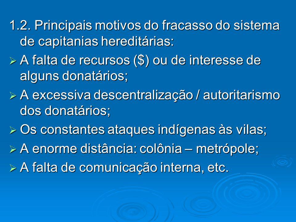 1.2. Principais motivos do fracasso do sistema de capitanias hereditárias: