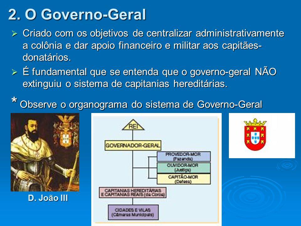 * Observe o organograma do sistema de Governo-Geral