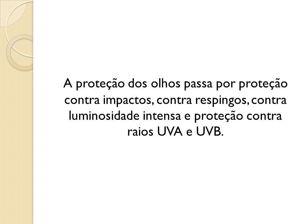 A proteção dos olhos passa por proteção contra impactos, contra respingos, contra luminosidade intensa e proteção contra raios UVA e UVB.