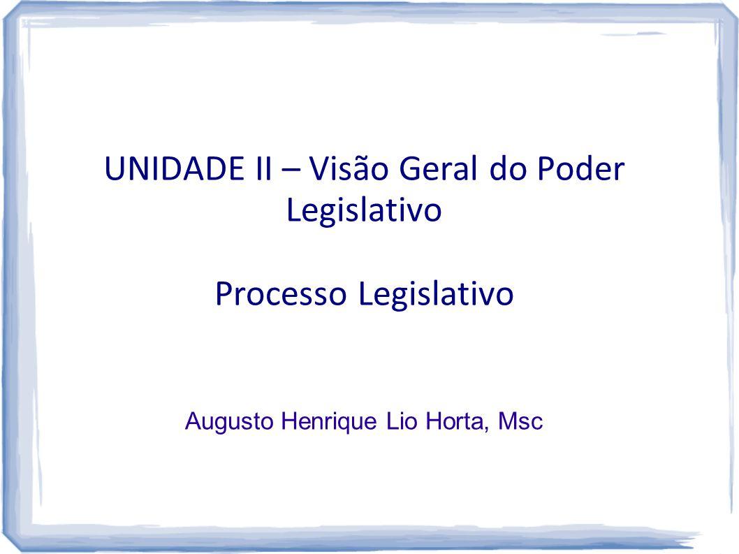 UNIDADE II – Visão Geral do Poder Legislativo