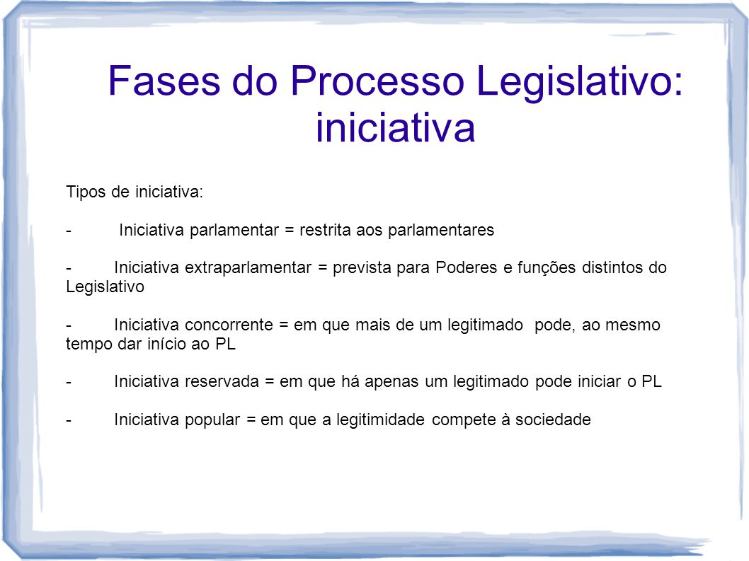 Fases do Processo Legislativo: iniciativa