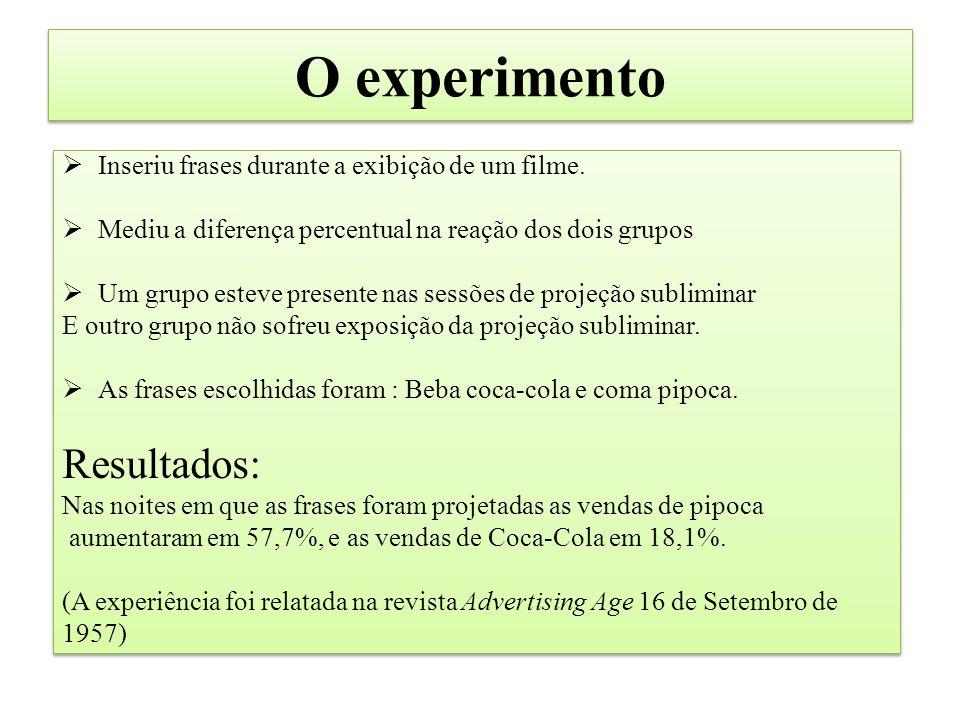 O experimento Resultados: