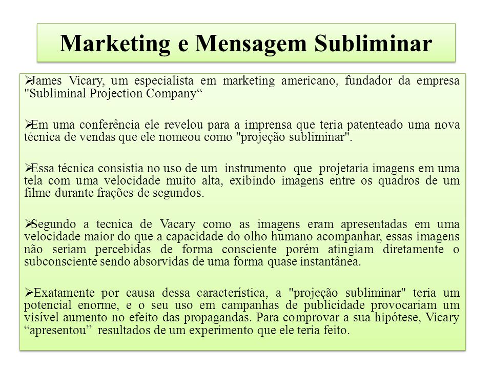 Marketing e Mensagem Subliminar