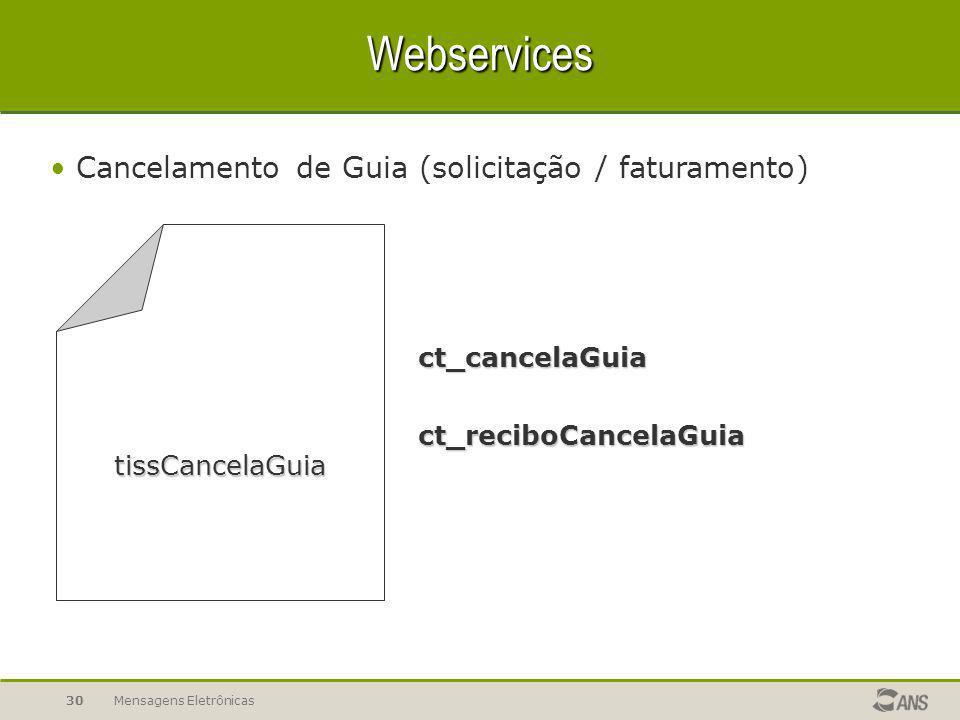 Webservices Cancelamento de Guia (solicitação / faturamento)