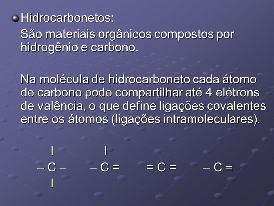 Hidrocarbonetos: São materiais orgânicos compostos por hidrogênio e carbono.