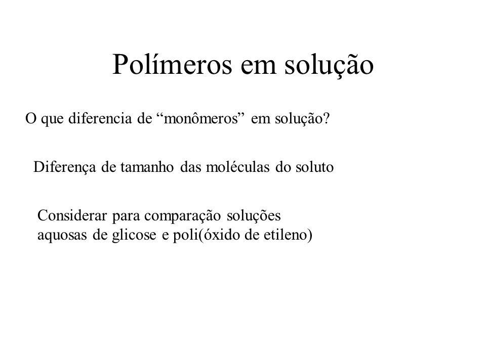 Polímeros em solução O que diferencia de monômeros em solução