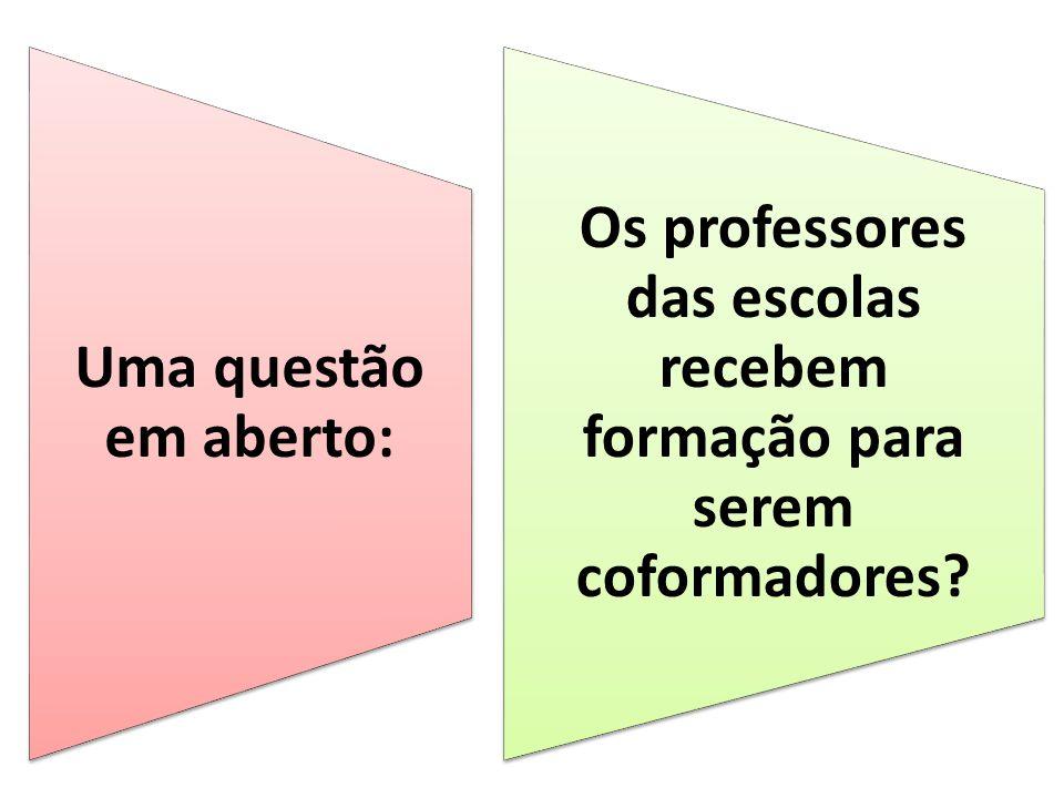 Os professores das escolas recebem formação para serem coformadores