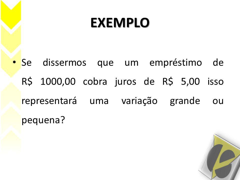EXEMPLO Se dissermos que um empréstimo de R$ 1000,00 cobra juros de R$ 5,00 isso representará uma variação grande ou pequena