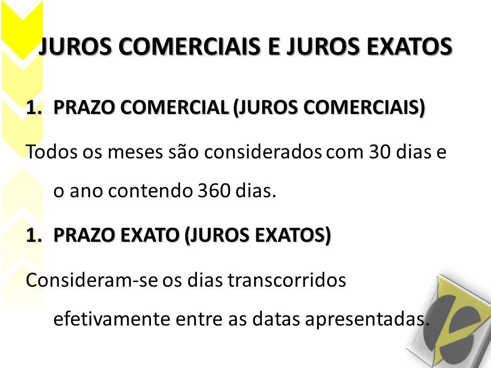 JUROS COMERCIAIS E JUROS EXATOS