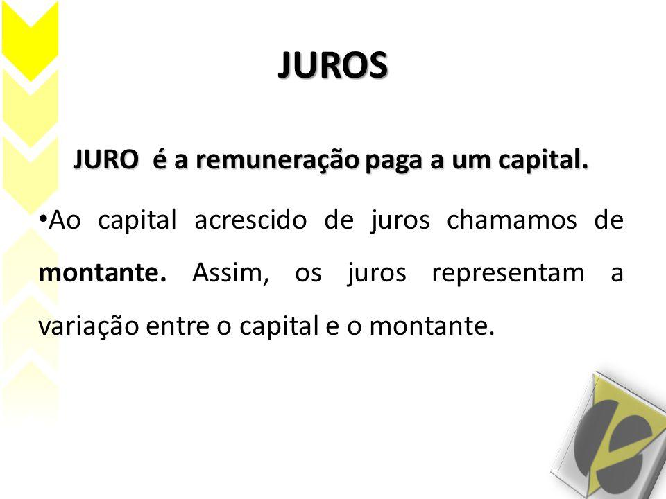 JURO é a remuneração paga a um capital.