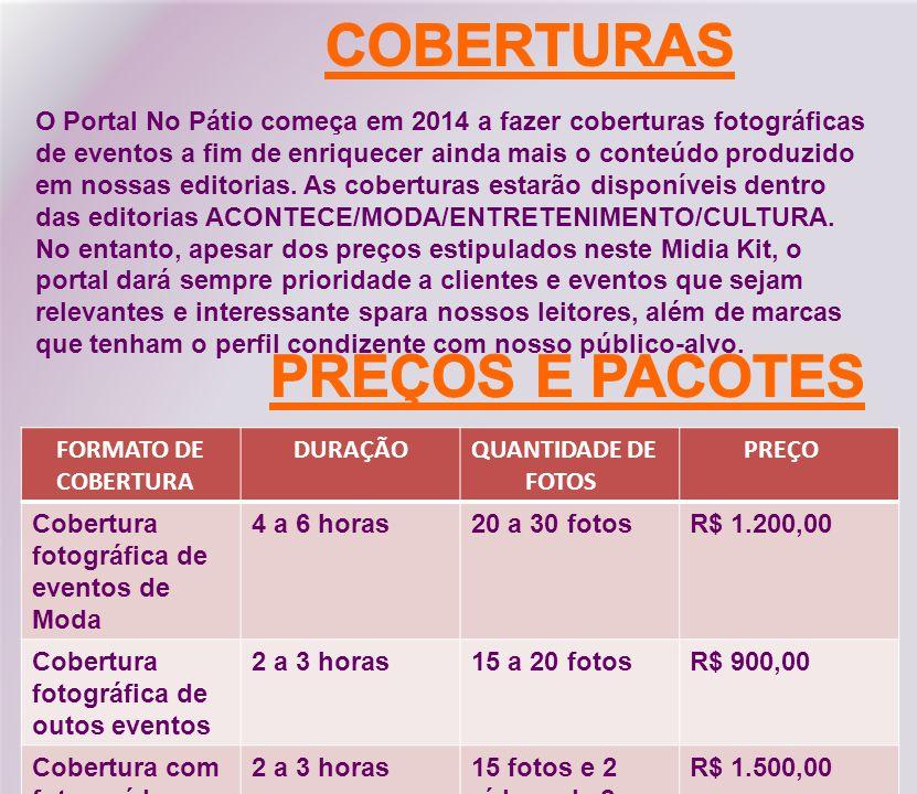 COBERTURAS PREÇOS E PACOTES