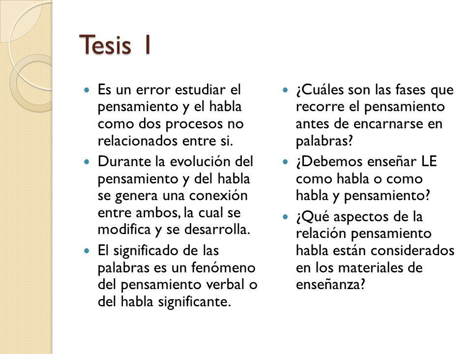 Tesis 1 Es un error estudiar el pensamiento y el habla como dos procesos no relacionados entre si.