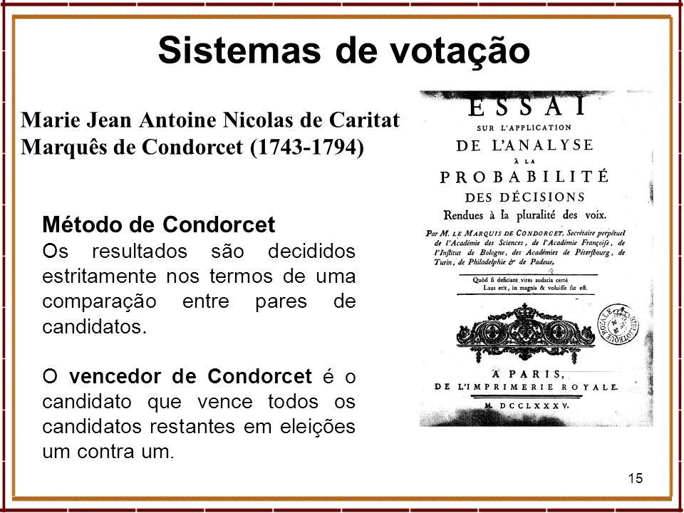 Sistemas de votação Marie Jean Antoine Nicolas de Caritat Marquês de Condorcet (1743-1794) Método de Condorcet.