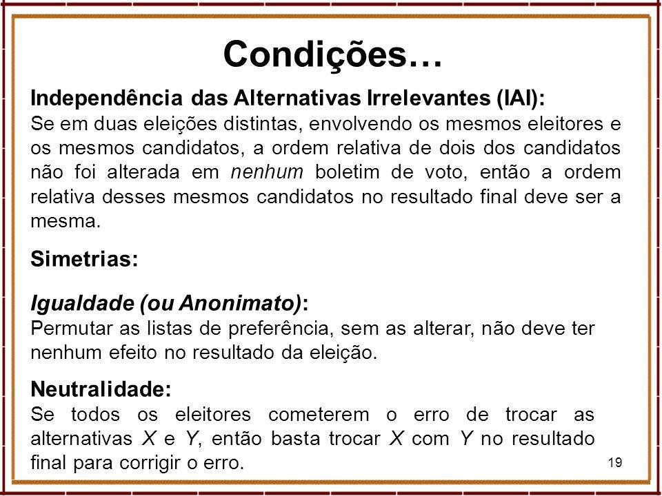 Condições… Independência das Alternativas Irrelevantes (IAI):