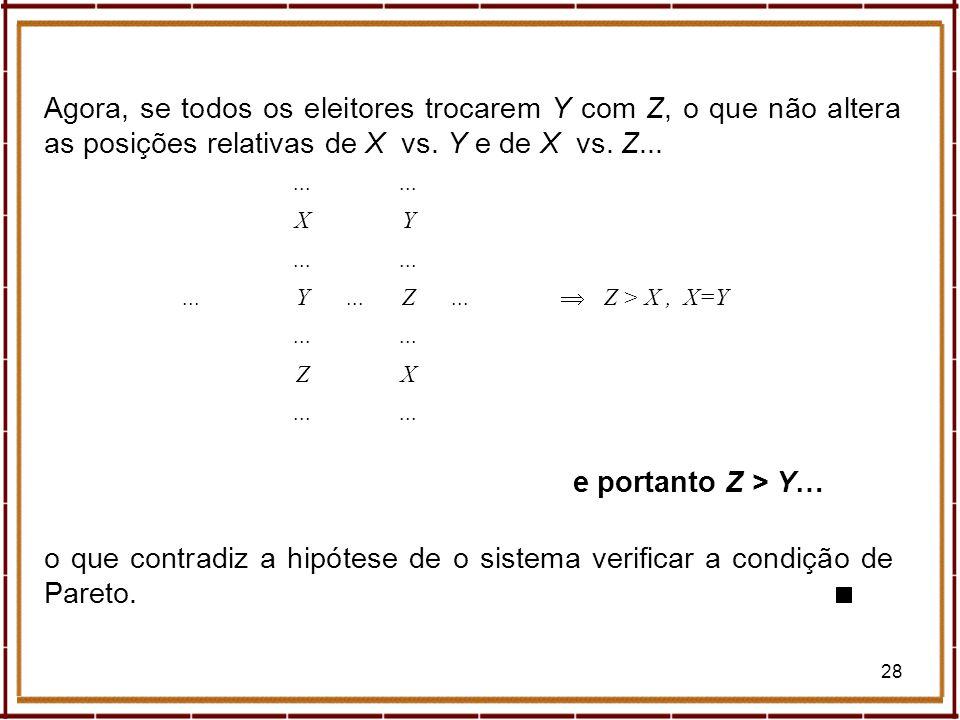 Agora, se todos os eleitores trocarem Y com Z, o que não altera as posições relativas de X vs. Y e de X vs. Z...