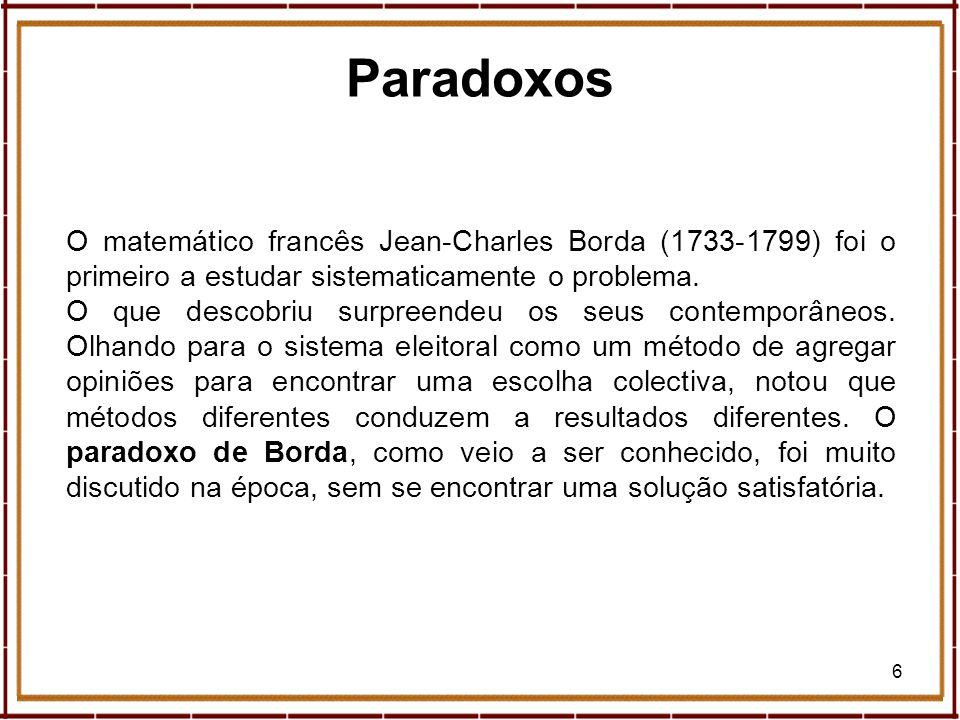Paradoxos O matemático francês Jean-Charles Borda (1733-1799) foi o primeiro a estudar sistematicamente o problema.