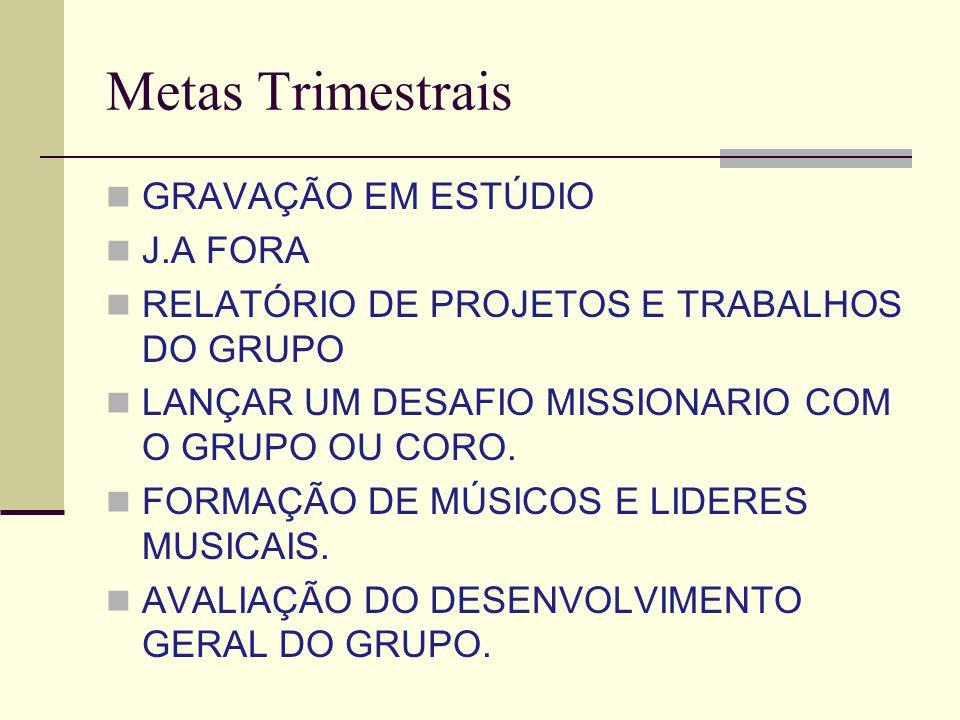 Metas Trimestrais GRAVAÇÃO EM ESTÚDIO J.A FORA