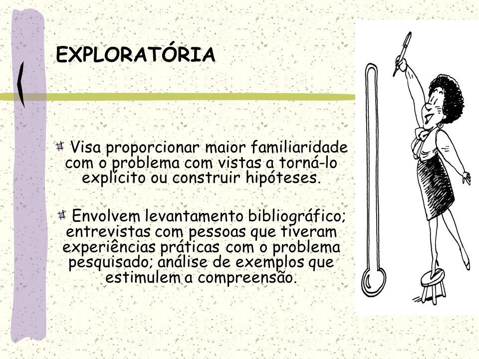 EXPLORATÓRIA Visa proporcionar maior familiaridade com o problema com vistas a torná-lo explícito ou construir hipóteses.