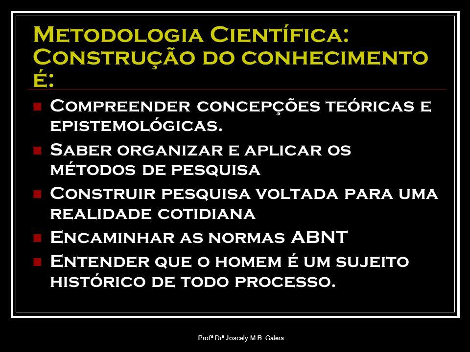 Metodologia Científica: Construção do conhecimento é: